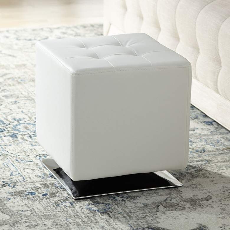 Marco Modern Snow White Swivel Ottoman