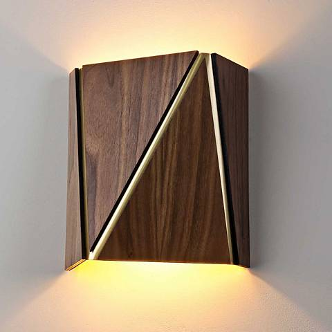 "Cerno Calx 9"" High Dark Stained Walnut LED Wall Sconce"