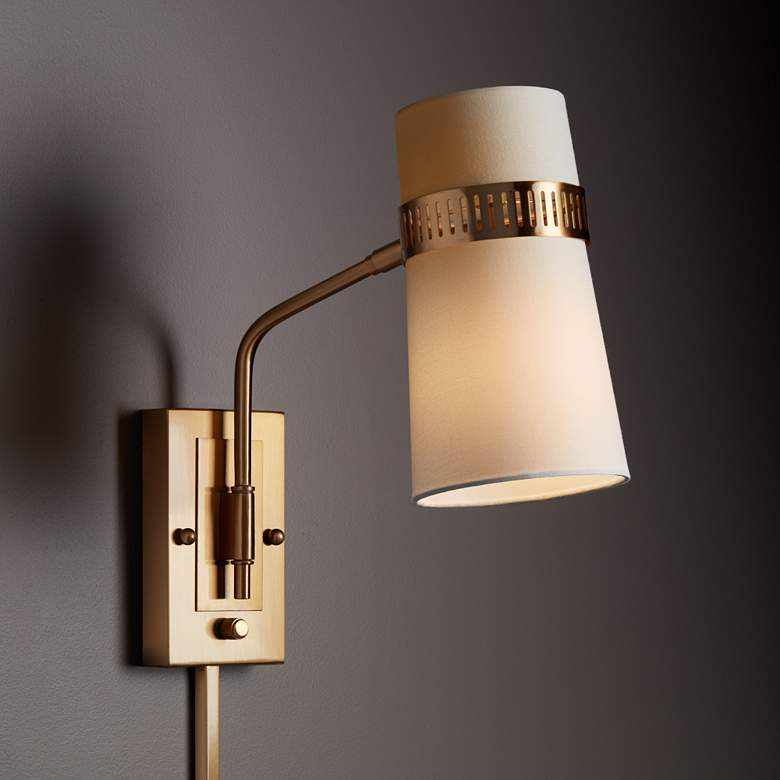 Cartwright Warm Antique Brass Plug-In Wall Lamp