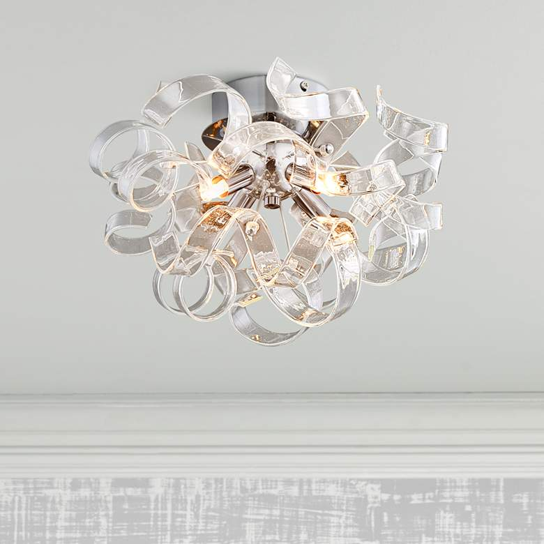 "Ritz 14"" Wide Chrome 4-Light Ceiling Light"