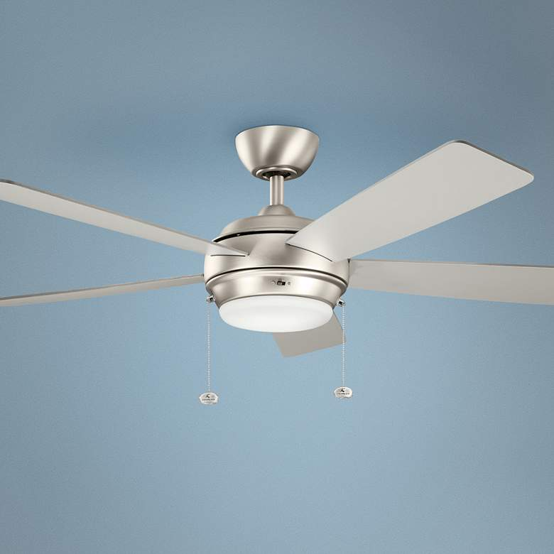 "52"" Kichler Starkk Brushed Nickel LED Ceiling Fan"