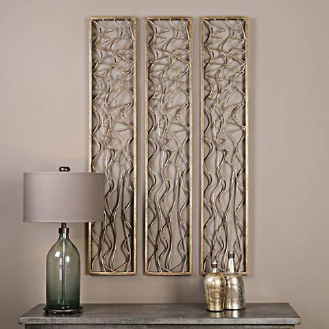 "Uttermost Scribble Aged Gold Leaf 60"" High Metal Wall Panel"