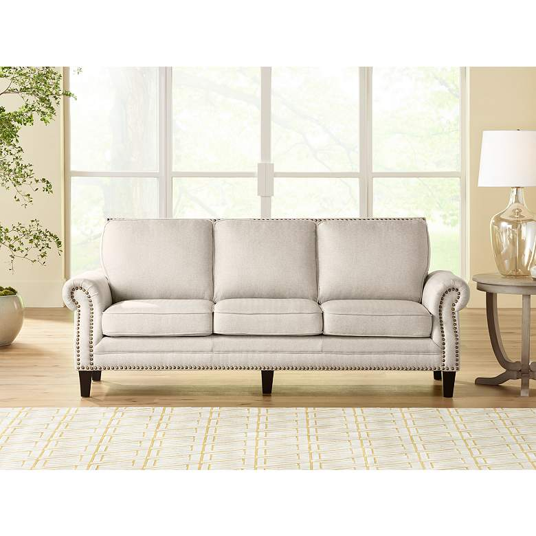 "Clyde Park 85"" Wide Oslo Linen Nailhead Trim Traditional Sofa"