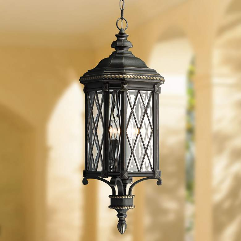 "Bexley Manor 31 3/4""H Diamond Black Outdoor Hanging"