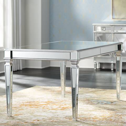 "Veronica 71"" Wide Silver and Mirror Dining Table"