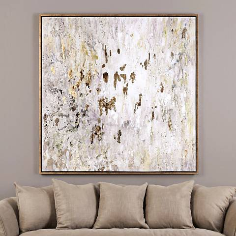 "Uttermost Golden Raindrops 62"" Wide Canvas Wall Art"