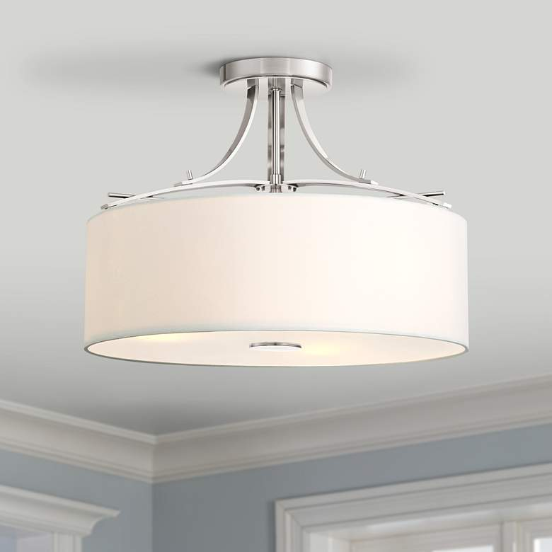 "Poleis 16 1/2"" Wide Brushed Nickel Ceiling Light"