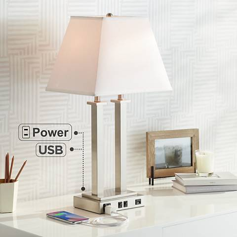 Possini Euro Amity Desk Lamp with USB Port and Outlet