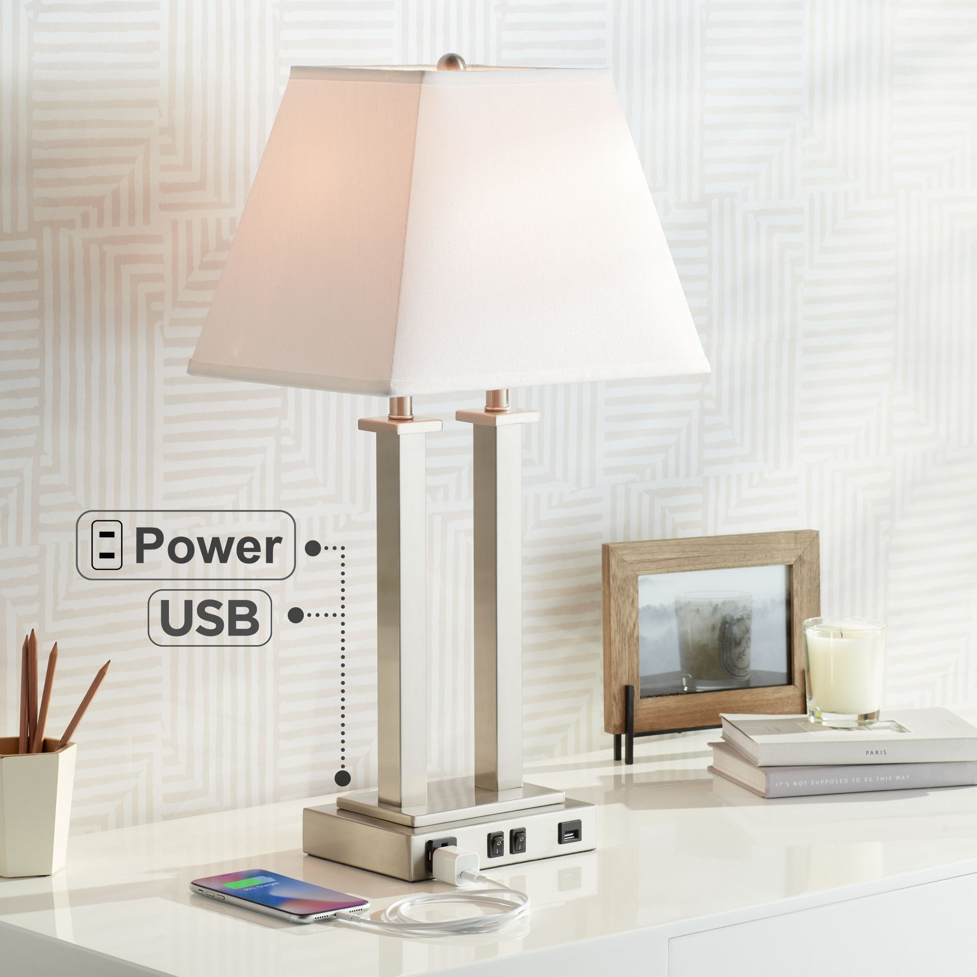 Perfect Possini Euro Amity Desk Lamp With USB Port And Outlet