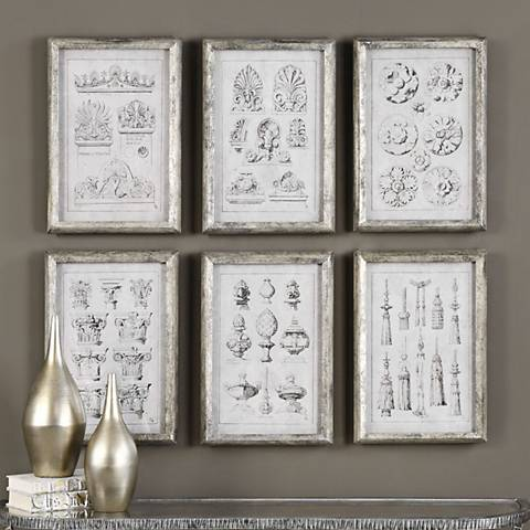 "Architectural Accents 6-Piece 19 3/4""H Framed Wall Art Set"