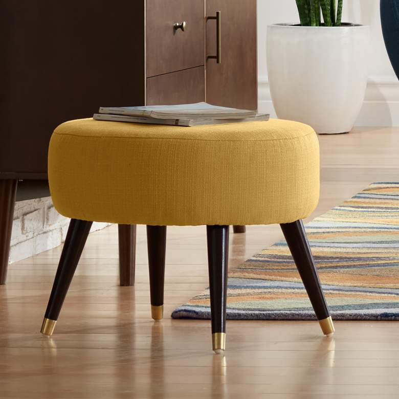 "Syble 22"" Wide Klein Mustard Yellow Modern Ottoman"