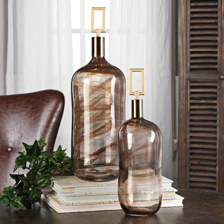 Uttermost Ginevra Brown Art Glass Bottles - Set
