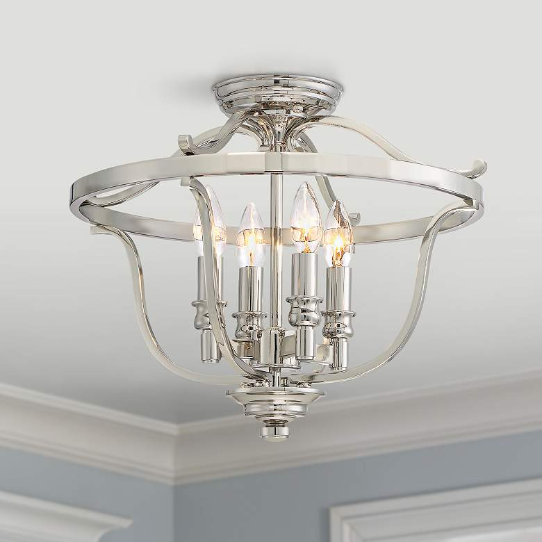 "Audrey's Point 17 1/4"" Wide Polished Nickel Ceiling"