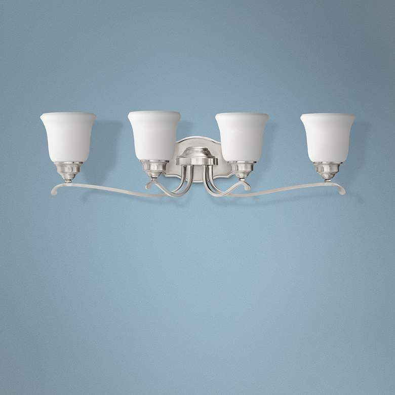 "Savannah Row 31"" Wide Brushed Nickel 4-Light Bath Light"