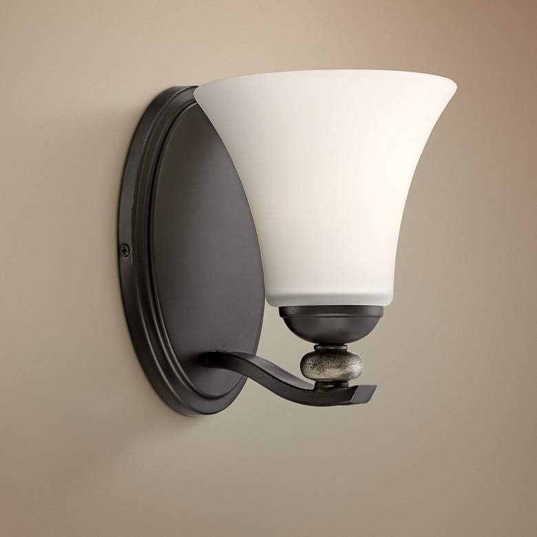 "Shadow Glen 8"" High Lathan Bronze Wall Sconce"