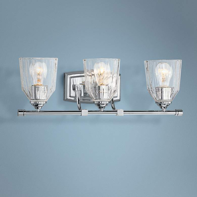 "D'or 23 1/4""W Chrome and Faceted Glass 3-Light"