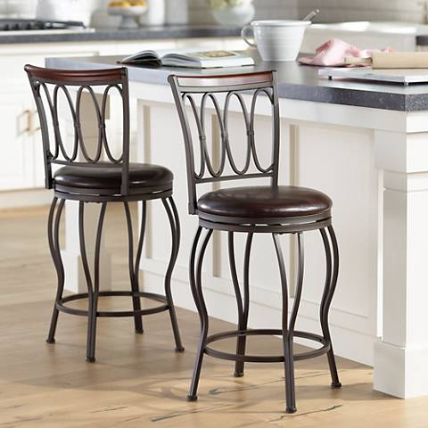 "Cyrus Bronze 24"" Swivel Counter Stools Set of 2"