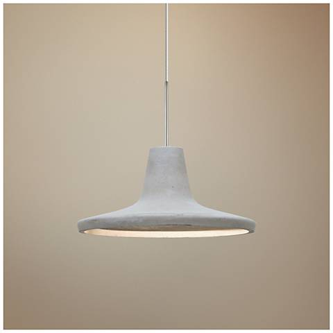 "Modus 9""W Satin Nickel Natural Concrete LED Mini Pendant"