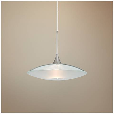 "Spazio 8 3/4""W Nickel Clear-Frost Glass LED Mini Pendant"