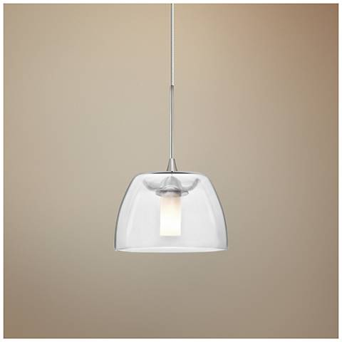 "Spur 5 1/2""W Satin Nickel Clear Glass LED Mini Pendant"