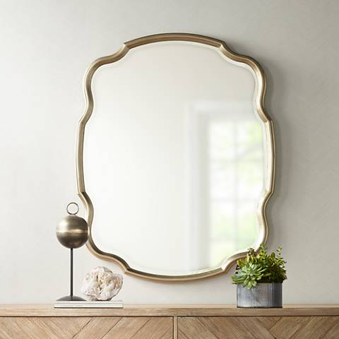 "Melba Champagne Curved 33"" x 42"" Wall Mirror"