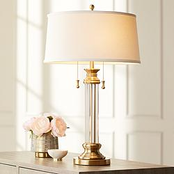 Rolland Warm Antique Brass and Crystal Column Table Lamp