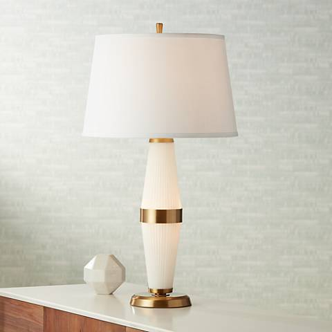 Delmont Glass and Metal LED Nightlight Table Lamp