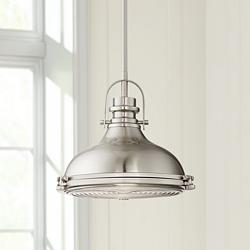 "Verndale 11 1/2""W Brushed Nickel Industrial Mini Pendant"