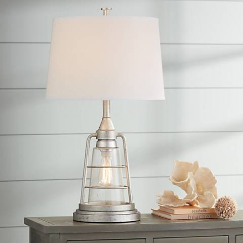 "Fisher Galvanized Metal 28 3/4"" High Nightlight Table Lamp"