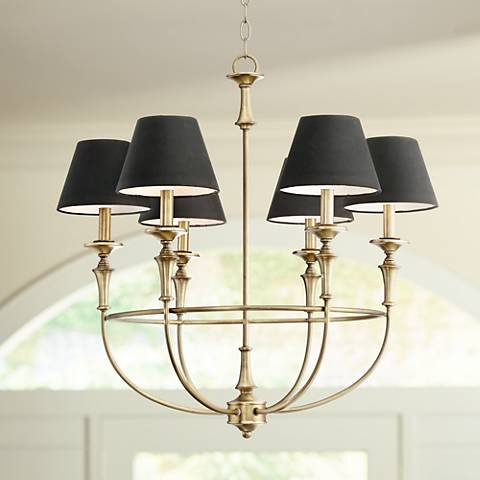 "Lufkin 28"" Wide Antique Brass 6-Light Chandelier"