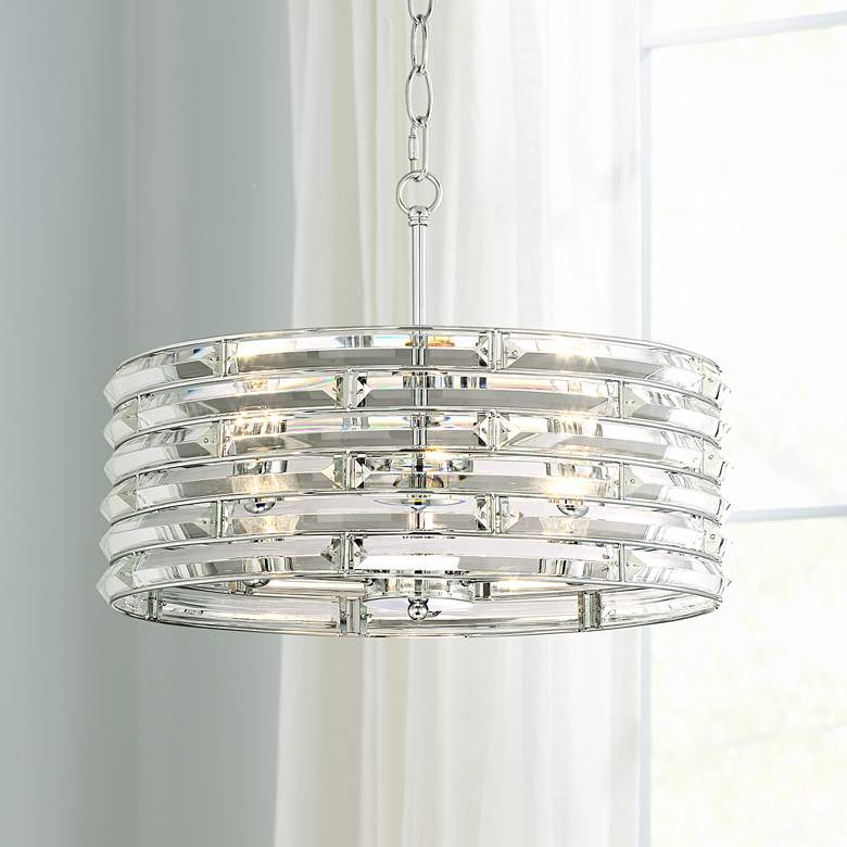 "Possini Euro Ebbets 18 1/4"" Wide Chrome Round Pendant Light"