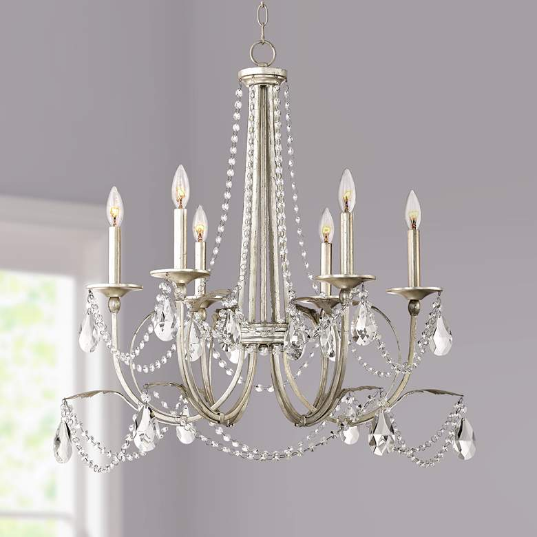 "Strand 28"" Wide Silver Leaf 6-Light Chandelier"