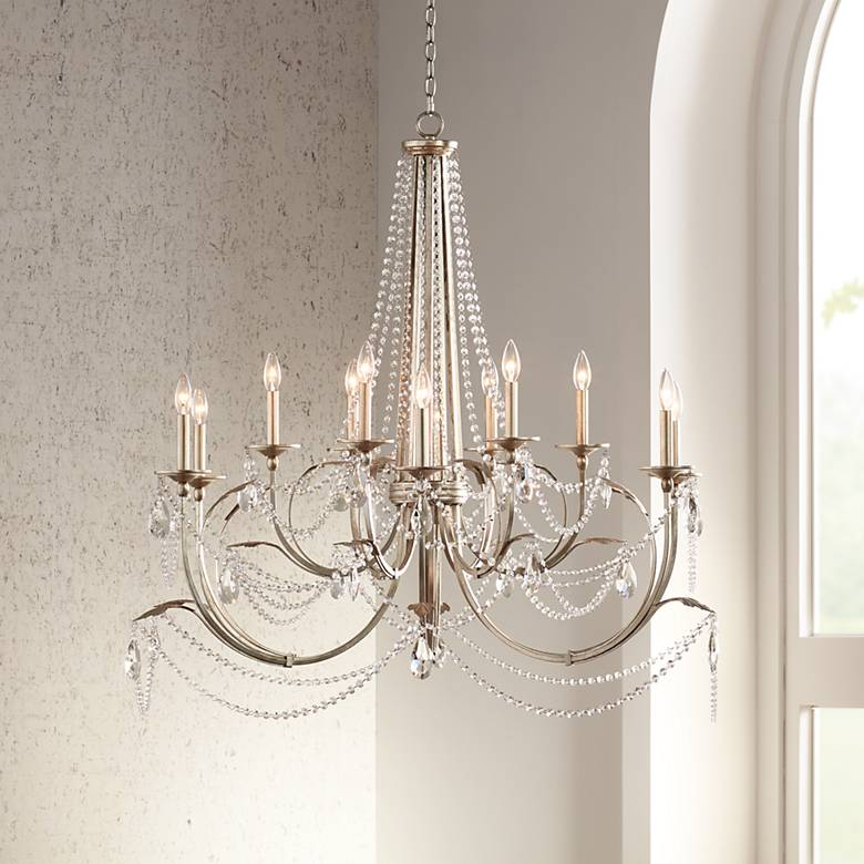 "Strand 46"" Wide Silver Leaf 12-Light Chandelier"