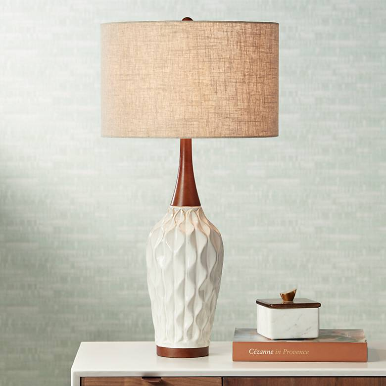 Rocco 30 Quot High Mid Century Modern White Ceramic Table Lamp
