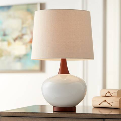 Brice Mid-Century Ivory Ceramic Table Lamp
