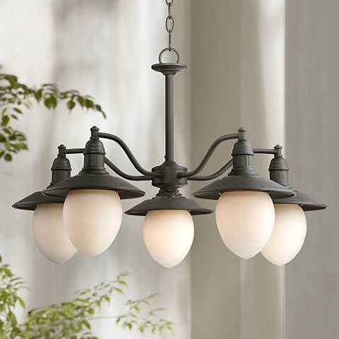 Elsinore 28 wide 5 light black outdoor chandelier