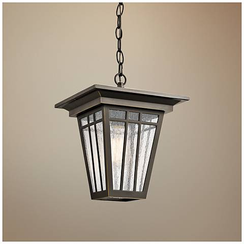 "Kichler Woodhollow 12 1/2""H Bronze Outdoor Hanging Light"