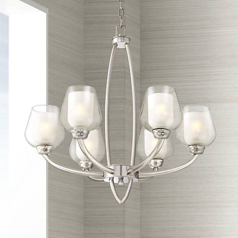 "Illyria 28"" Wide 6-Light Brushed Nickel Chandelier"