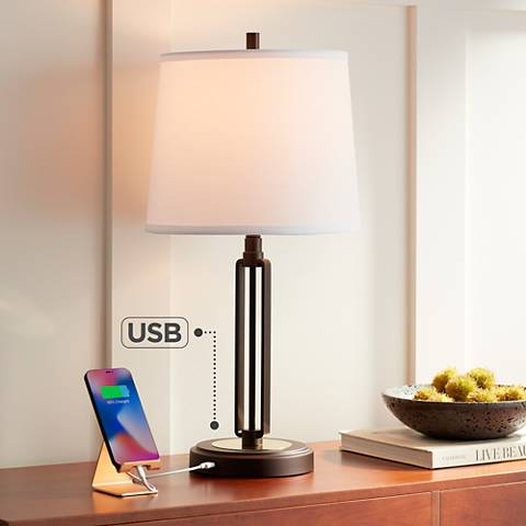 Franklin Iron Works Javier Bronze Table Lamp with USB Port