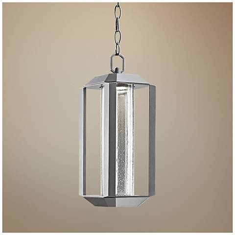 "Artcraft Wexford 15""H Silver LED Outdoor Hanging Light"