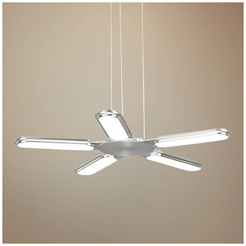 "LBL Torque 27""W Satin Nickel LED Pendant Light"