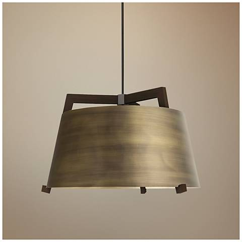 "Cerno Ignis 17"" Wide Dark Stained Walnut LED Pendant Light"