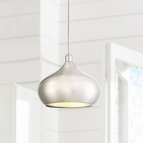 "Possini Euro Holland 7 1/2""W Satin Nickel LED Mini Pendant"