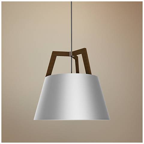 "Cerno Imber 17"" Wide Walnut LED Pendant Light"