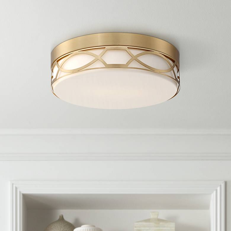 "Possini Euro Giltner 11 1/4"" Wide Satin Brass Ceiling Light"