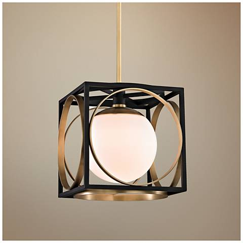 "Wadsworth 10"" Wide Aged Brass and Black Mini Pendant"