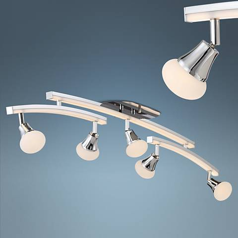 Pro Track Quincy 5-Light Chrome LED Swing Arm Track Fixture