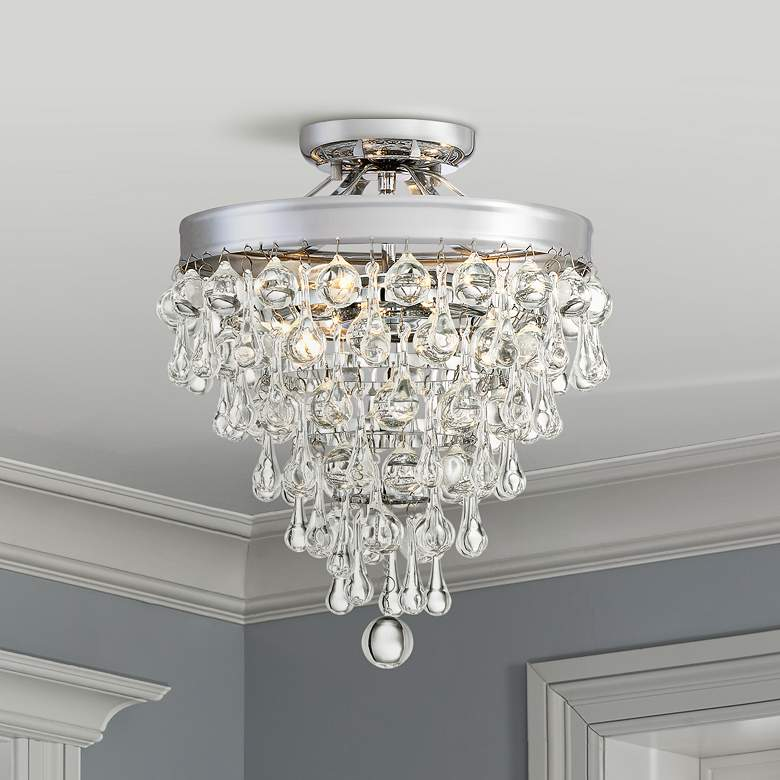 "Crystal Teardrop 11"" Wide Chrome Ceiling Light"