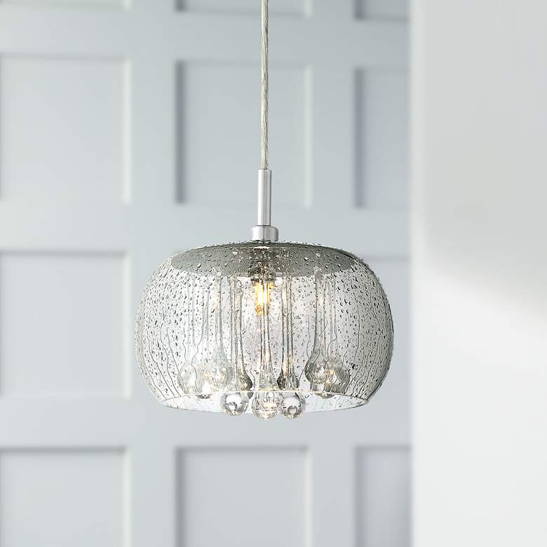 "Possini Euro Rainier 8 3/4"" Wide Smoke Glass Mini Pendant"