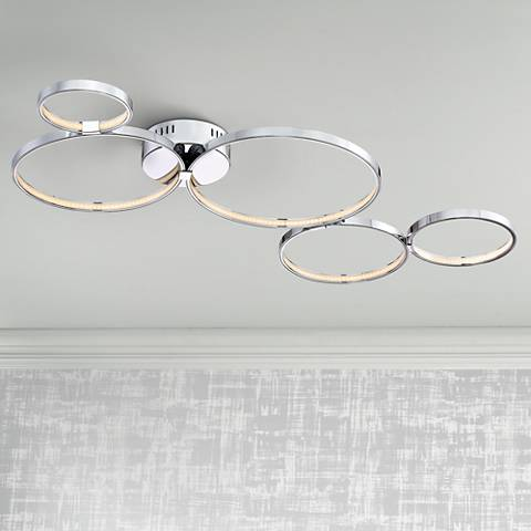 "Possini Euro Sphaira 40"" Wide Chrome LED Ceiling Light"